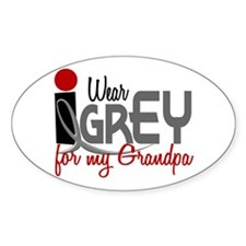 I Wear Grey For My Grandpa 32 Oval Decal