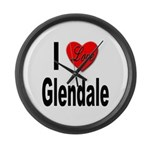 I Love Glendale Large Wall Clock