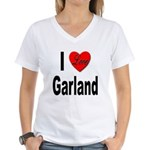 I Love Garland (Front) Women's V-Neck T-Shirt