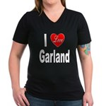 I Love Garland (Front) Women's V-Neck Dark T-Shirt