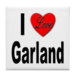 I Love Garland Tile Coaster