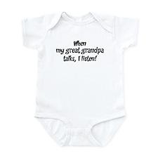 I listen to great grandpa Infant Bodysuit