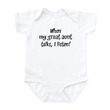 I listen to great aunt Infant Bodysuit