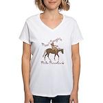 Real Cowgirls Ride Bareback Women's V-Neck T-Shirt
