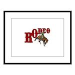 Vintage Rodeo Bronc Rider Large Framed Print