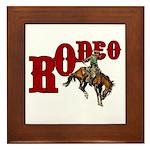 Vintage Rodeo Bronc Rider Framed Tile