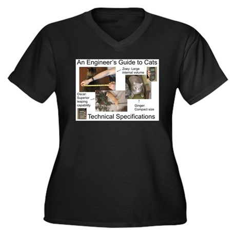 Cat Technical Specs. Women's Plus Size V-Neck Dark