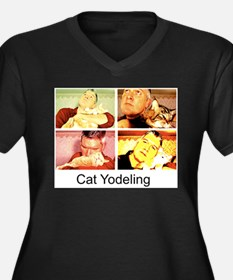 Cat Yodeling Women's Plus Size V-Neck Dark T-Shirt