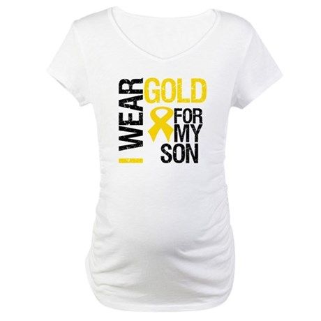 I Wear Gold For My Son Maternity T-Shirt