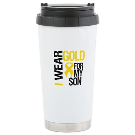 I Wear Gold For My Son Stainless Steel Travel Mug