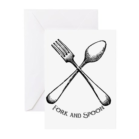 Fork and Spoon Greeting Cards (Pk of 10)