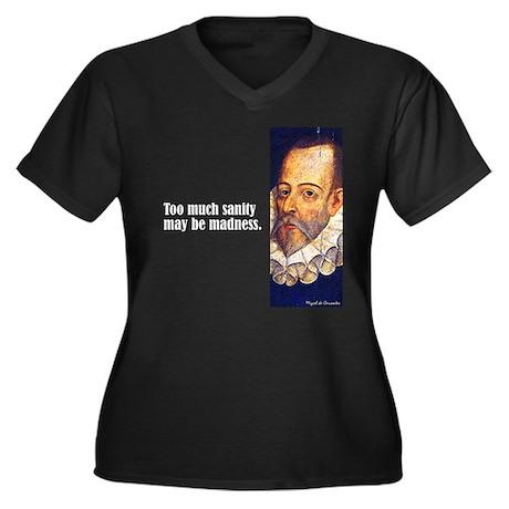 "Cervantes ""Sanity"" Women's Plus Size V-Neck Dark T"