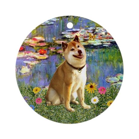 Monet's Lilies and Shiba Inu Ornament (Round)