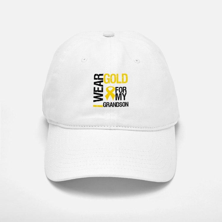 I Wear Gold For Grandson Baseball Baseball Cap