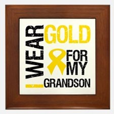 I Wear Gold For Grandson Framed Tile