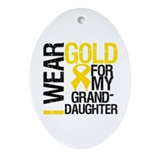 I Wear Gold Granddaughter Oval Ornament