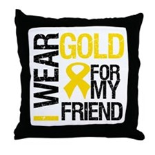 I Wear Gold For My Friend Throw Pillow