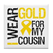 I Wear Gold For Cousin Tile Coaster