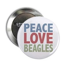 "Peace Love Beagles Dog Owner 2.25"" Button"
