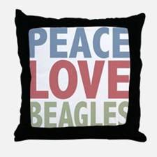 Peace Love Beagles Dog Owner Throw Pillow
