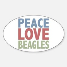 Peace Love Beagles Dog Owner Oval Decal