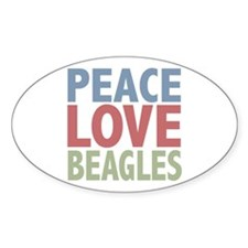 Peace Love Beagles Dog Owner Oval Sticker (10 pk)