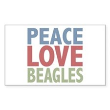 Peace Love Beagles Dog Owner Rectangle Sticker 10