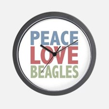 Peace Love Beagles Dog Owner Wall Clock