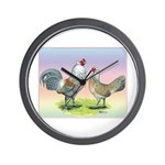 Ameraucana Chickens Pair Wall Clock