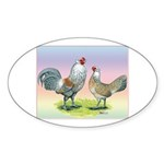 Ameraucana Chickens Pair Oval Sticker (10 pk)