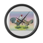 Ameraucana Chickens Pair Large Wall Clock