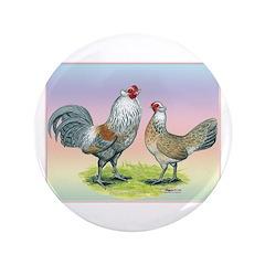 """Ameraucana Chickens Pair 3.5"""" Button"""