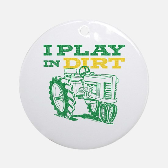 Play In Dirt Tractor Ornament (Round)
