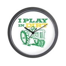 Play In Dirt Tractor Wall Clock