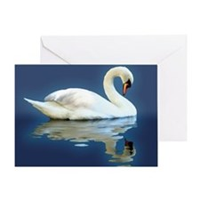 Swan Reflects (Blue) Greeting Card
