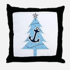 Navy Christmas Tree Throw Pillow