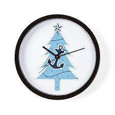 Navy Christmas Tree Wall Clock