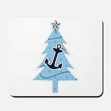 Navy Christmas Tree Mousepad