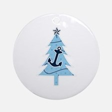 Navy Christmas Tree Ornament (Round)