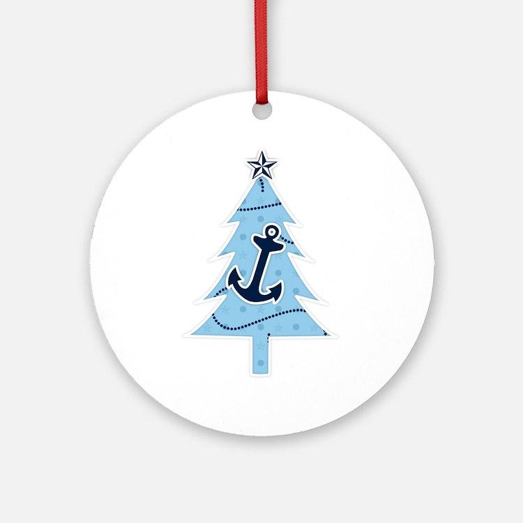 Navy Christmas Tree Ornament (Round)