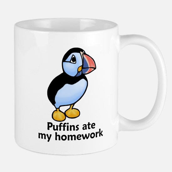 Puffins ate my homework Mug