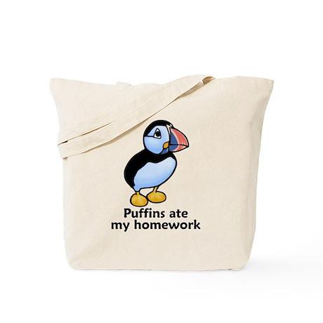 Puffins ate my homework Tote Bag