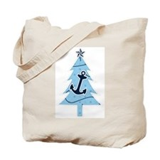 Navy Christmas Tree Tote Bag