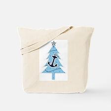 Navy Christmas Tree Tote Bag