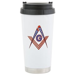 Red White and Blue Stainless Steel Travel Mug