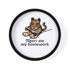 Tigers ate my homework Wall Clock