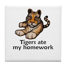 Tigers ate my homework Tile Coaster