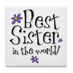 Best Sister Flower Tile Coaster