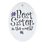 Best Sister Flower Oval Ornament