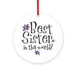 Best Sister Flower Ornament (Round)
